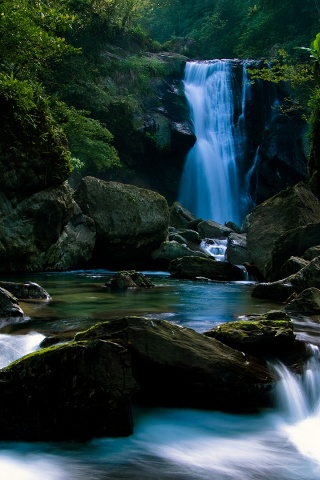 320x480 1920, beach, midnight, waterfall