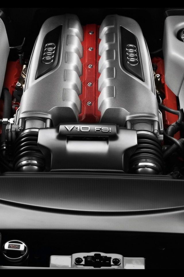 640x960 2010 Audi R8 GT engine Iphone 4 wallpaper