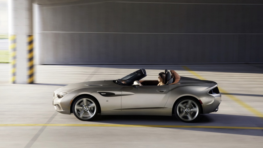 852x480 2012 Bmw Zagato Roadster Side Motion Desktop Pc And Mac Wallpaper