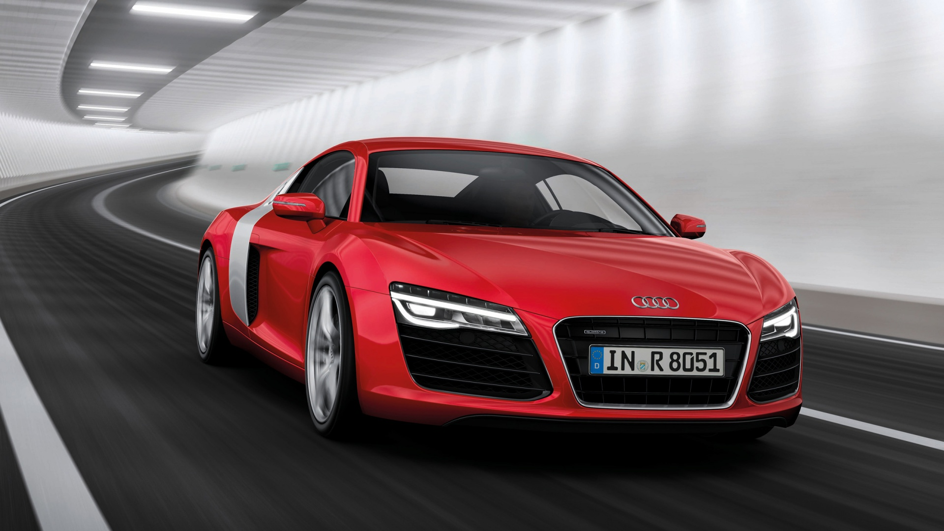 1920x1080 2013 Audi R8 Motion Red Front Angle Desktop PC And Mac Wallpaper