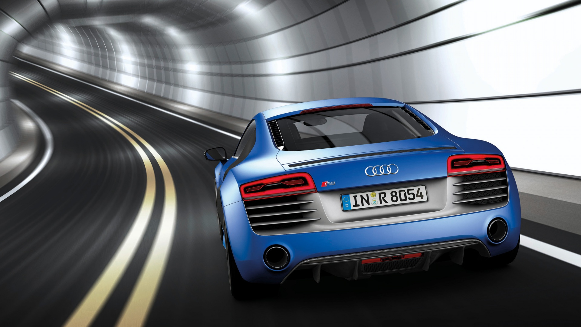 1920x1080 2013 Audi R8 V10 Plus Sepang Blue Pearl Effect Rear Desktop PC And Mac Wallpaper