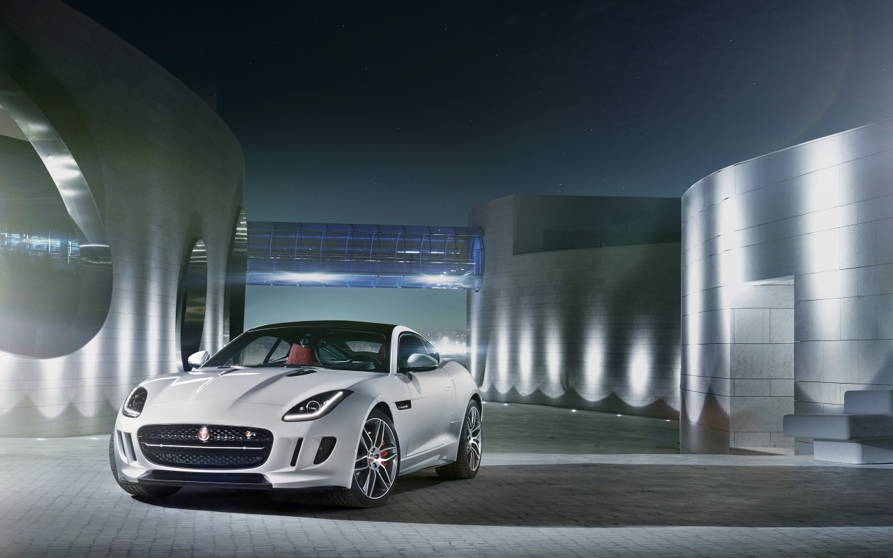 1280x800 2014 Jaguar F-Type R Coupe Polaris White Static Front Angle