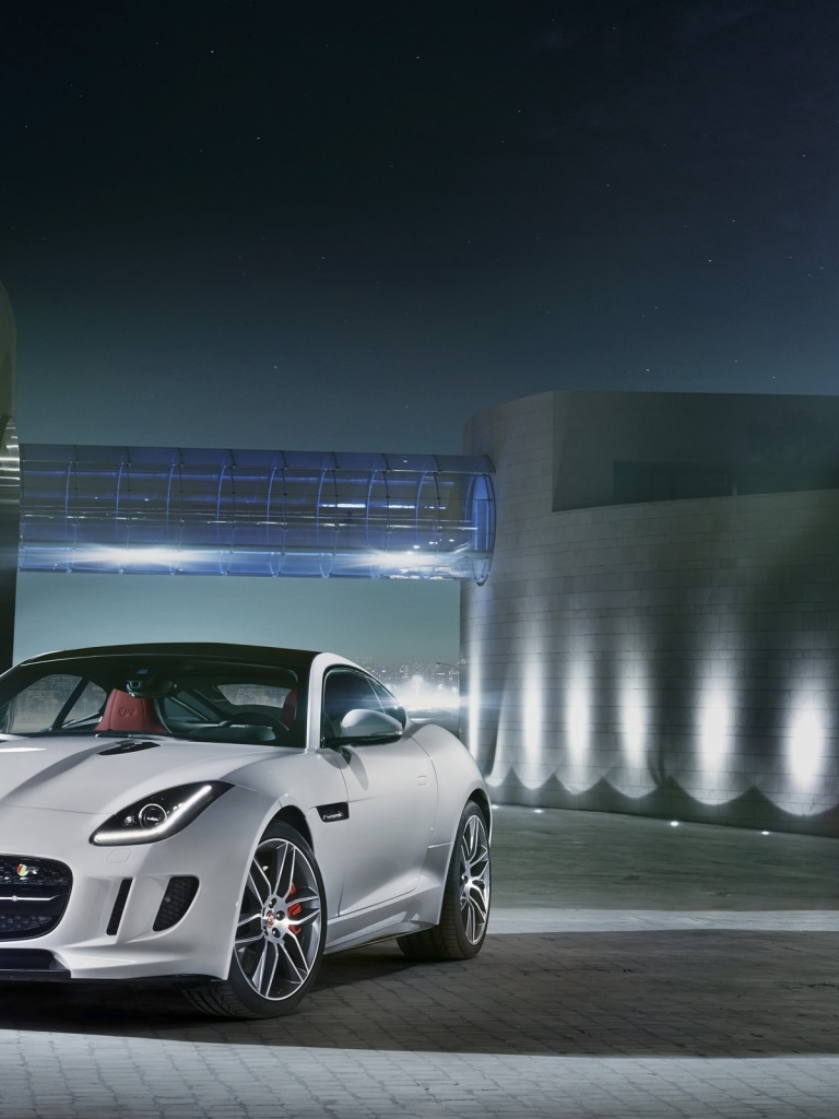 768x1024 2014 Jaguar F-Type R Coupe Polaris White Static Front Angle