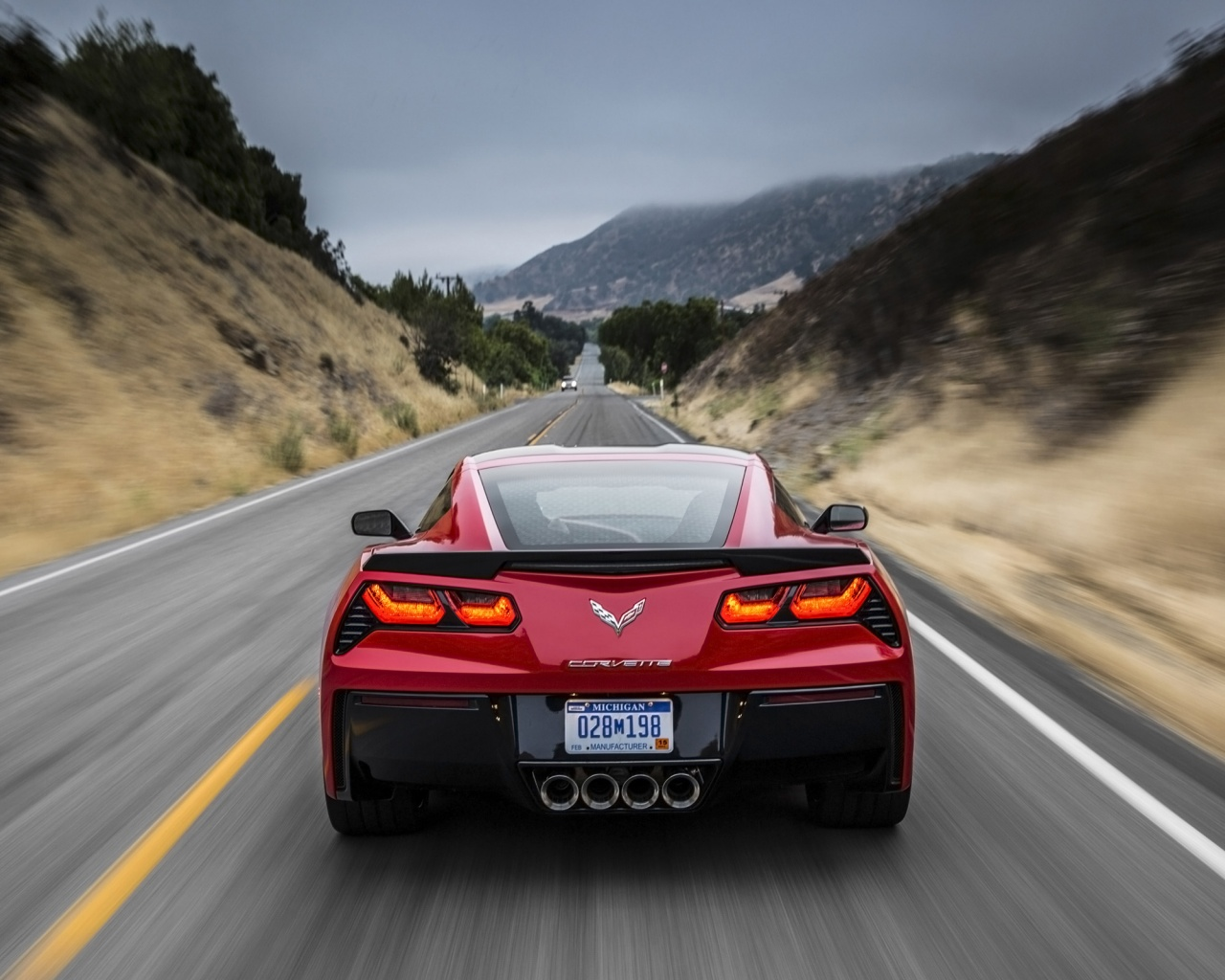 1280x1024 2014 Red Chevrolet Corvette Stingray Red Motion Desktop Pc