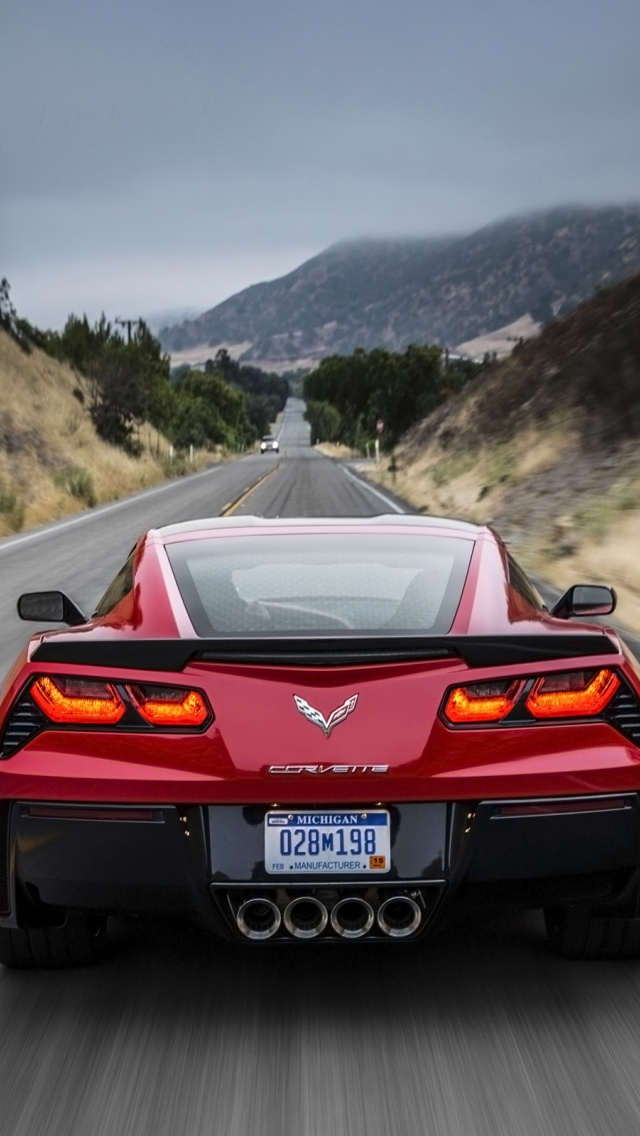 640x1136 2014 red chevrolet corvette stingray red motion