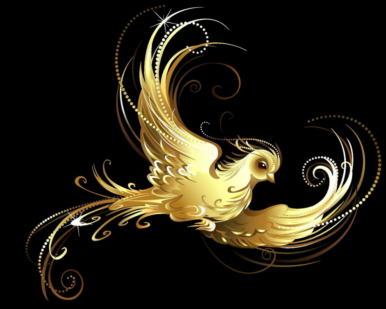OriginalWide Abstract Golden Bird Wallpapers