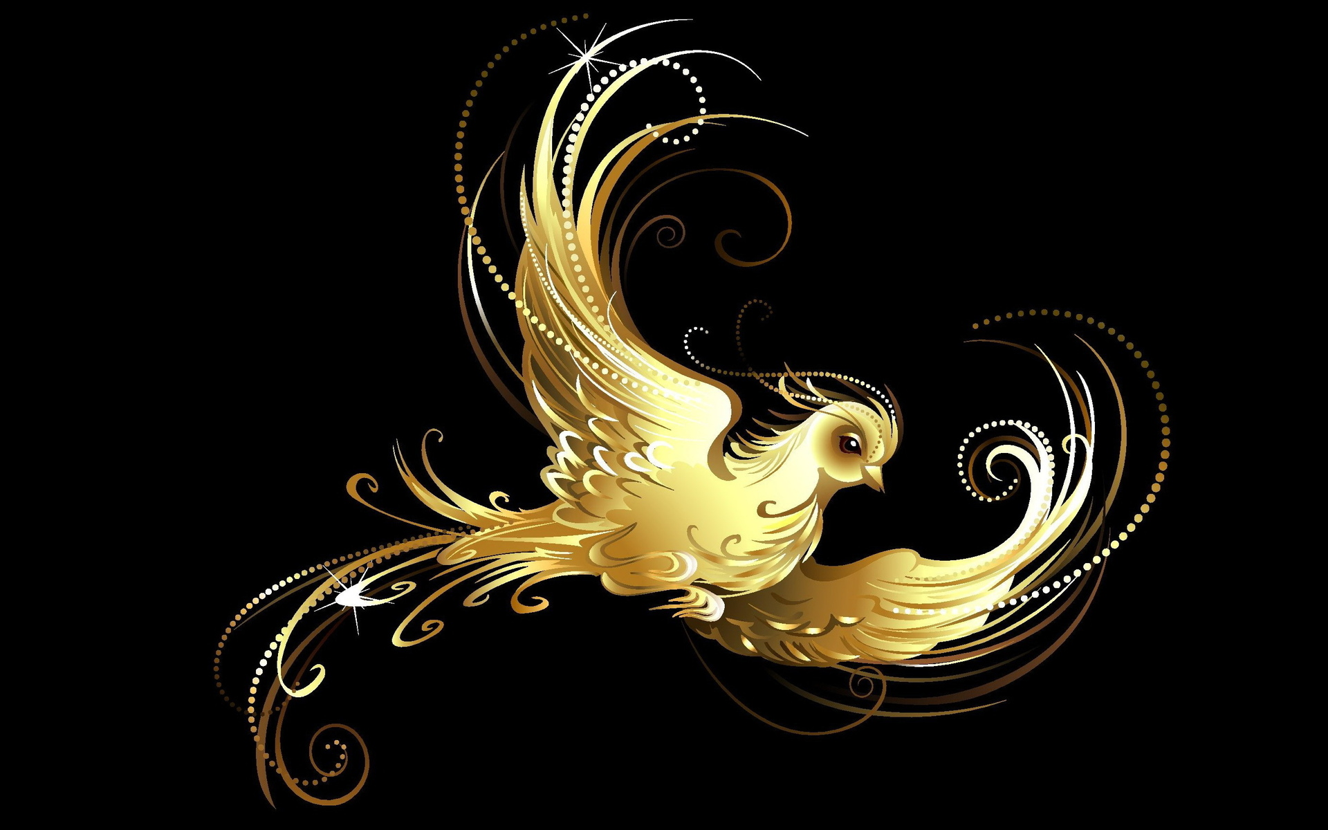 Abstract golden bird wallpapers abstract golden bird for Gold bird wallpaper