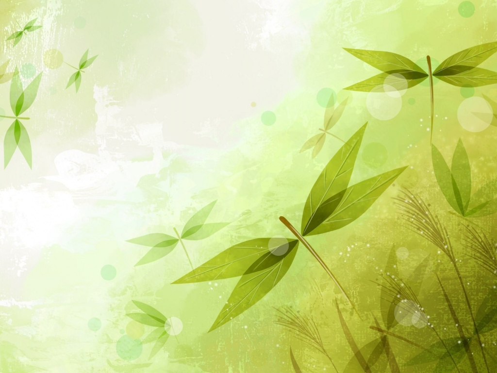 1024x768 Abstract Leaves Green
