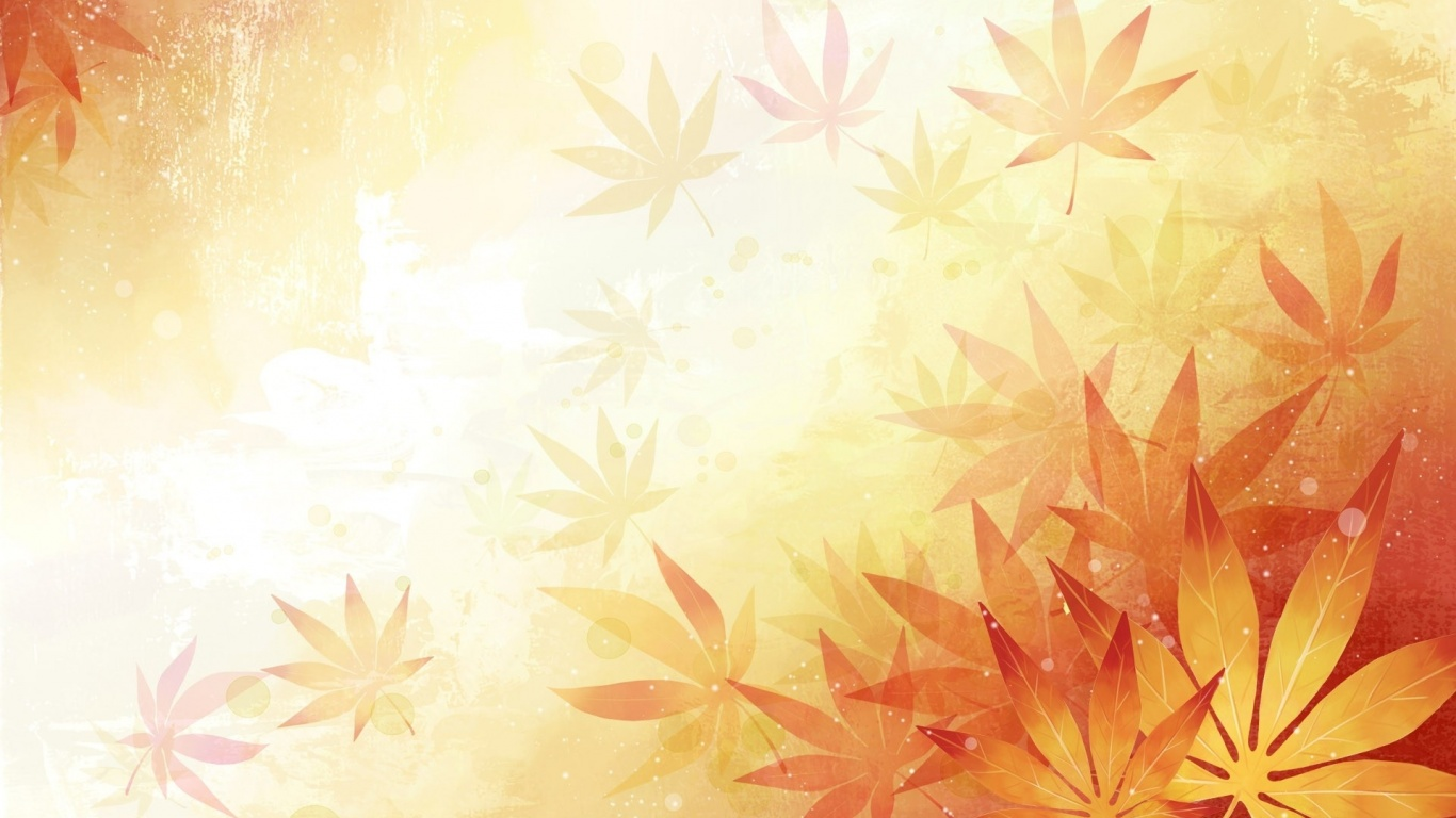 1366x768 Abstract Leaves Orange