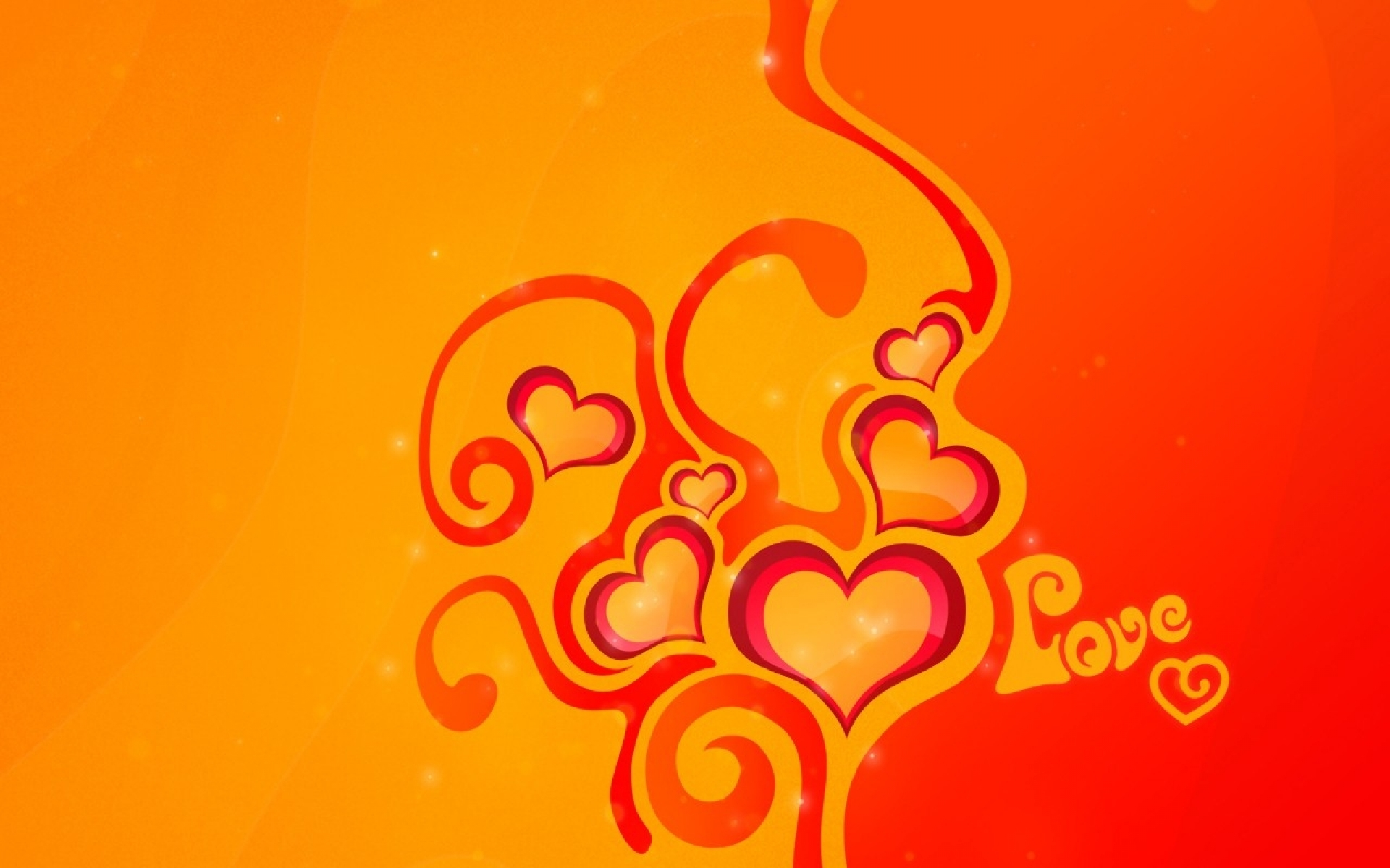 Abstract Love Yellow & Orange Wallpapers