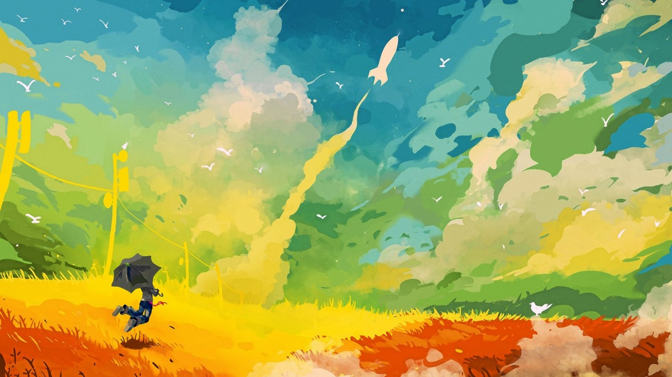 1366x768 Abstract Multicoloured Digital Art Desktop Pc And