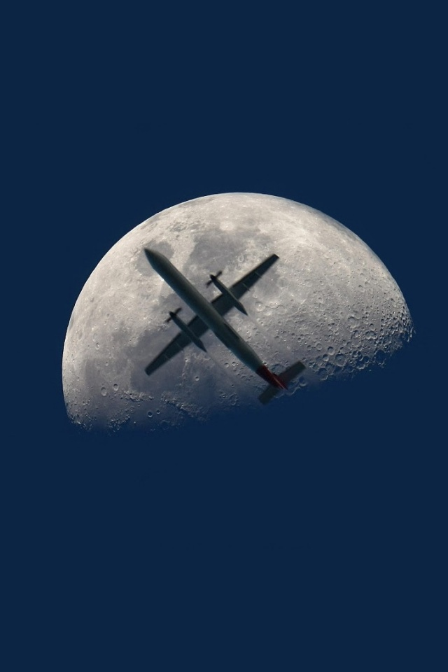 Iphone wallpaper download - 640x960 Aircraft And Moon Iphone 4 Wallpaper