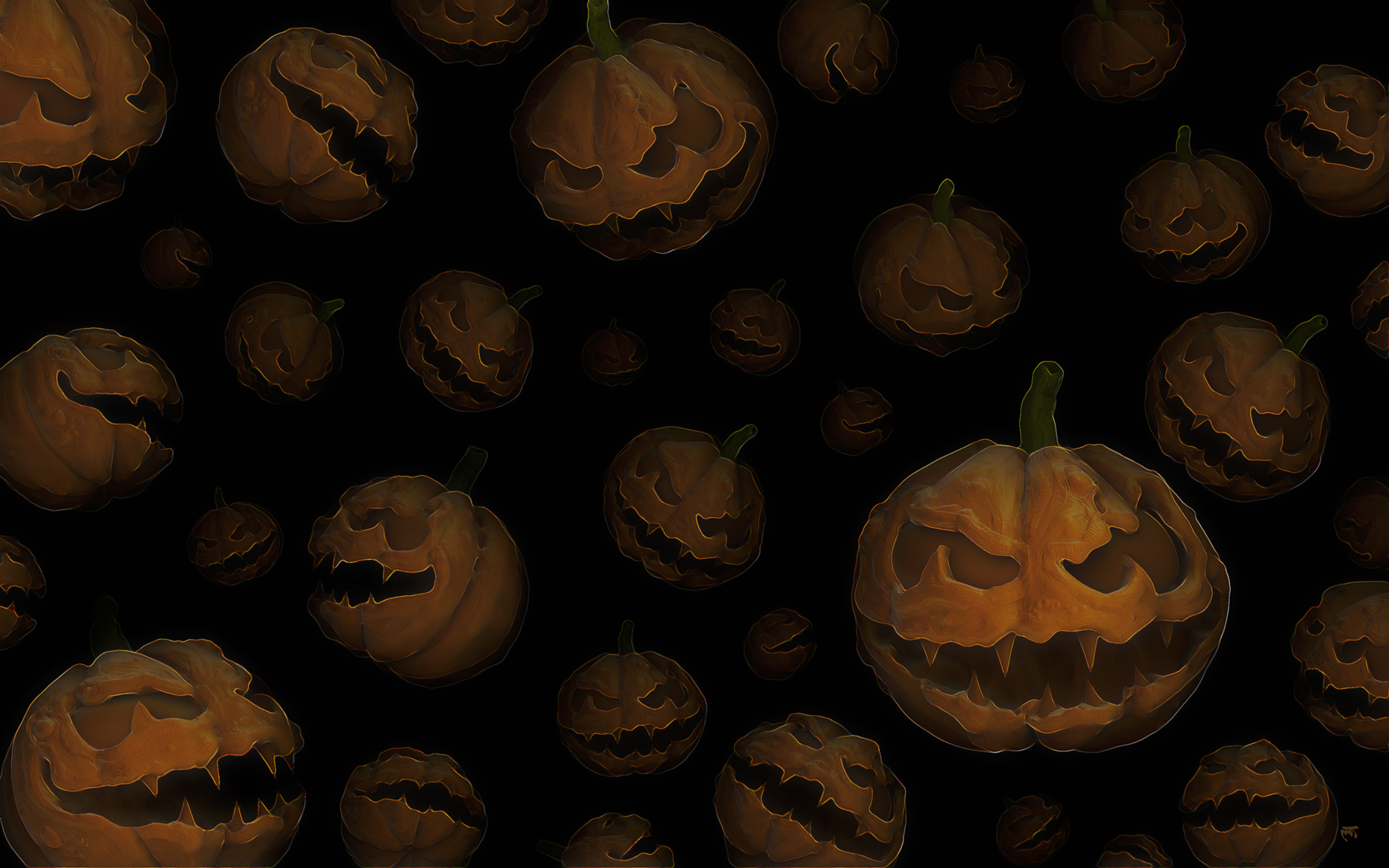 2560x1440 alot of halloween pumpkins youtube channel cover