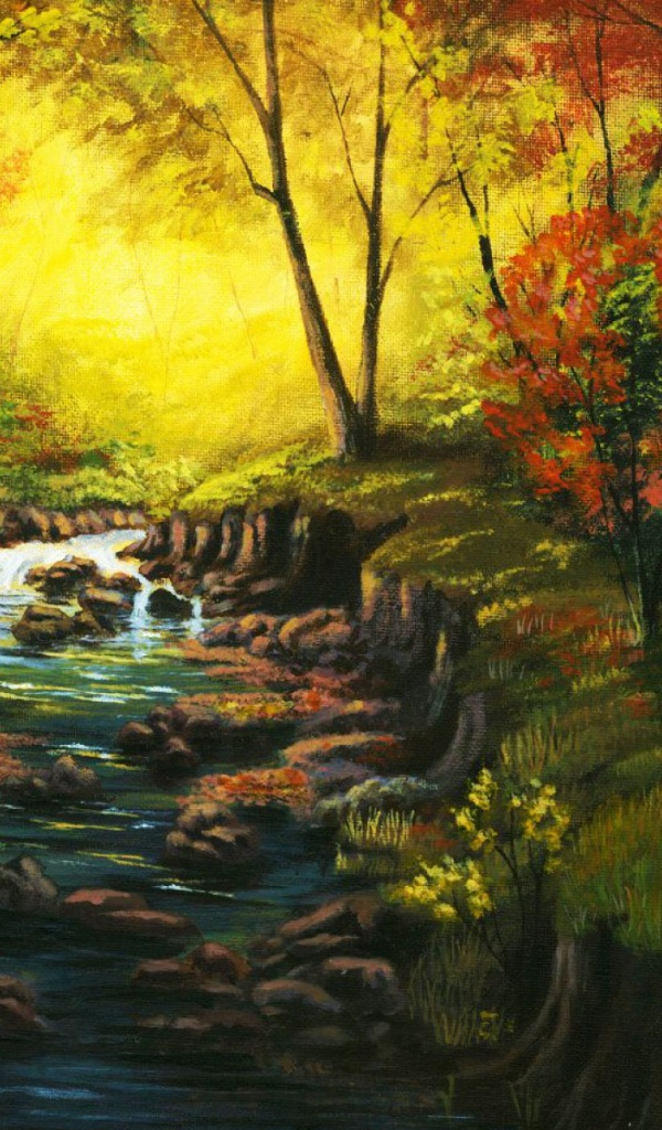 600x1024 amazing autumn forest creek galaxy tab 2 wallpaper for Amazing wallpaper for tab