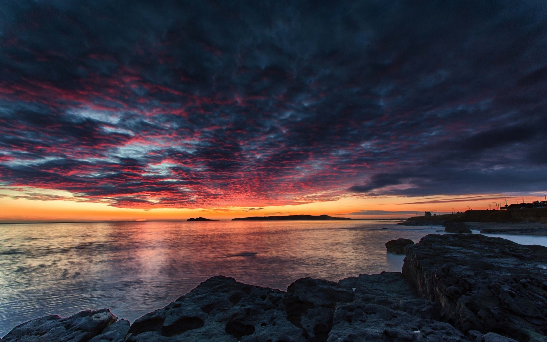 Amazing sunset ocean rocks wallpapers amazing sunset for Amazing ocean images