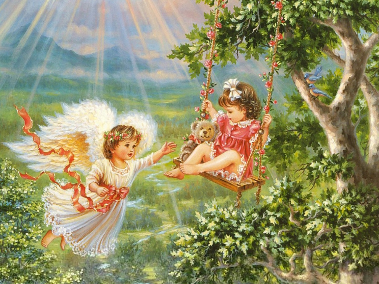 1280x960 Angel Child Swing Forest Desktop PC And Mac Wallpaper