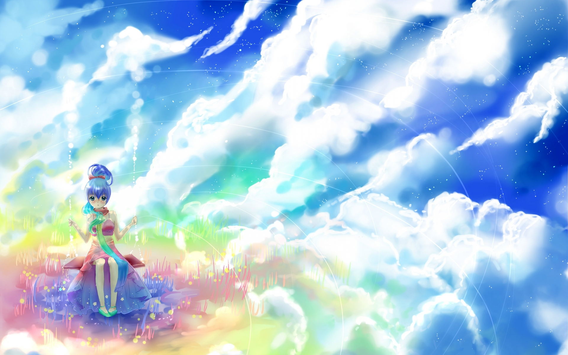 1920x1200 Anime Girl Rock Clouds Sky Desktop PC And Mac Wallpaper