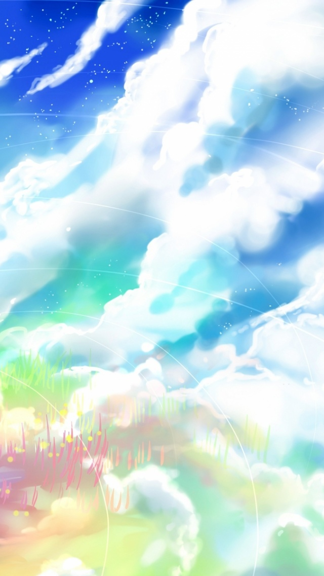 640x1136 Anime Girl Rock Clouds Sky Iphone 5 Wallpaper