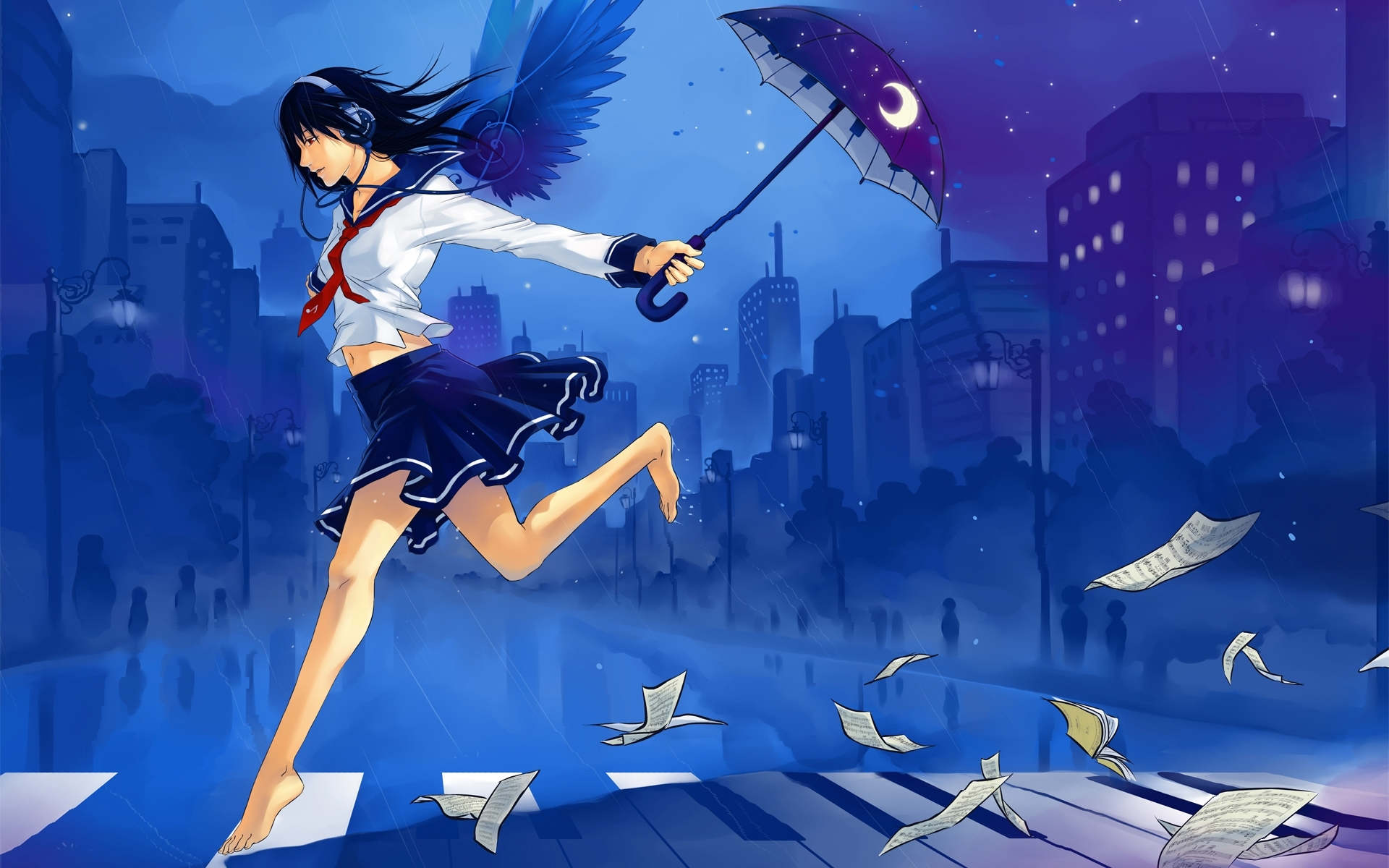 Anime Girl Umbrella Headphones Wallpapers Anime Girl Umbrella