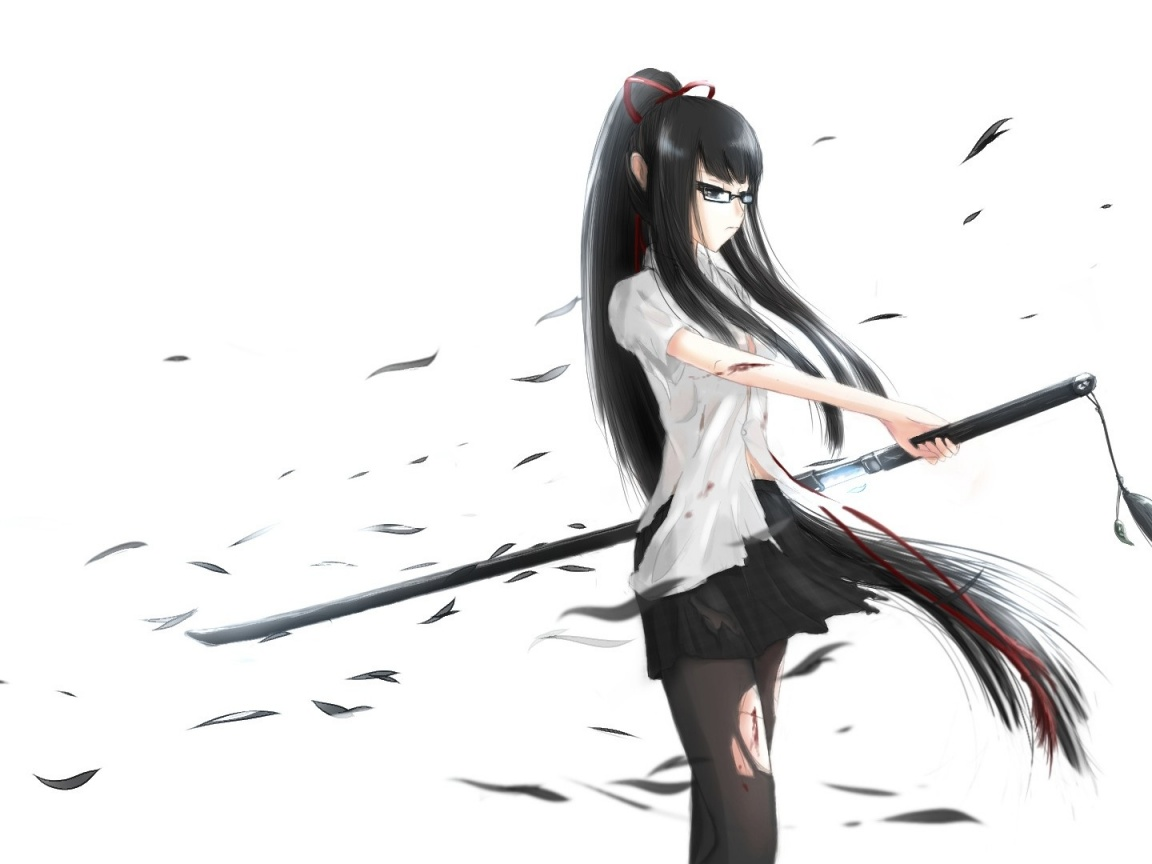 1152x864 Anime Girl With Katana Sword Desktop Pc And Mac Wallpaper
