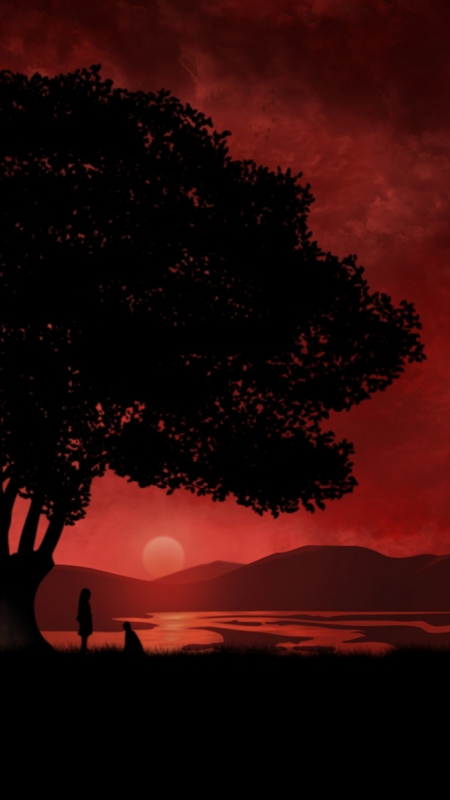 640x1136 Anime Red Sunset Tree Iphone 5 Wallpaper