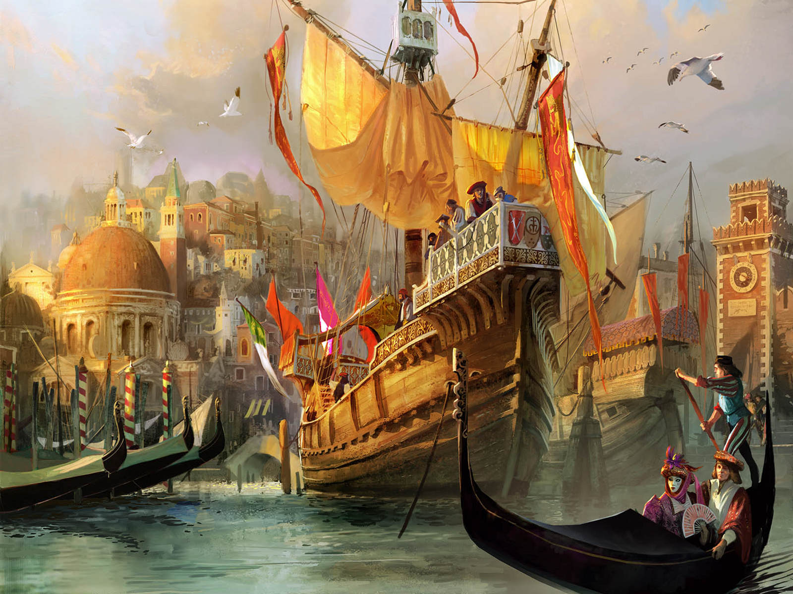 1600x1200 anno 1404 venice desktop pc and mac wallpaper for Beautiful painting images