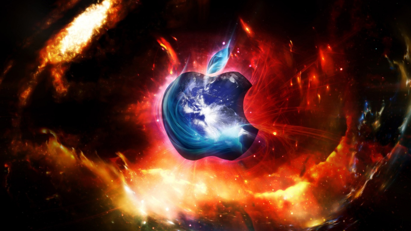 1366x768 apple in space desktop pc and mac wallpaper 1366x768 apple in space thecheapjerseys Image collections