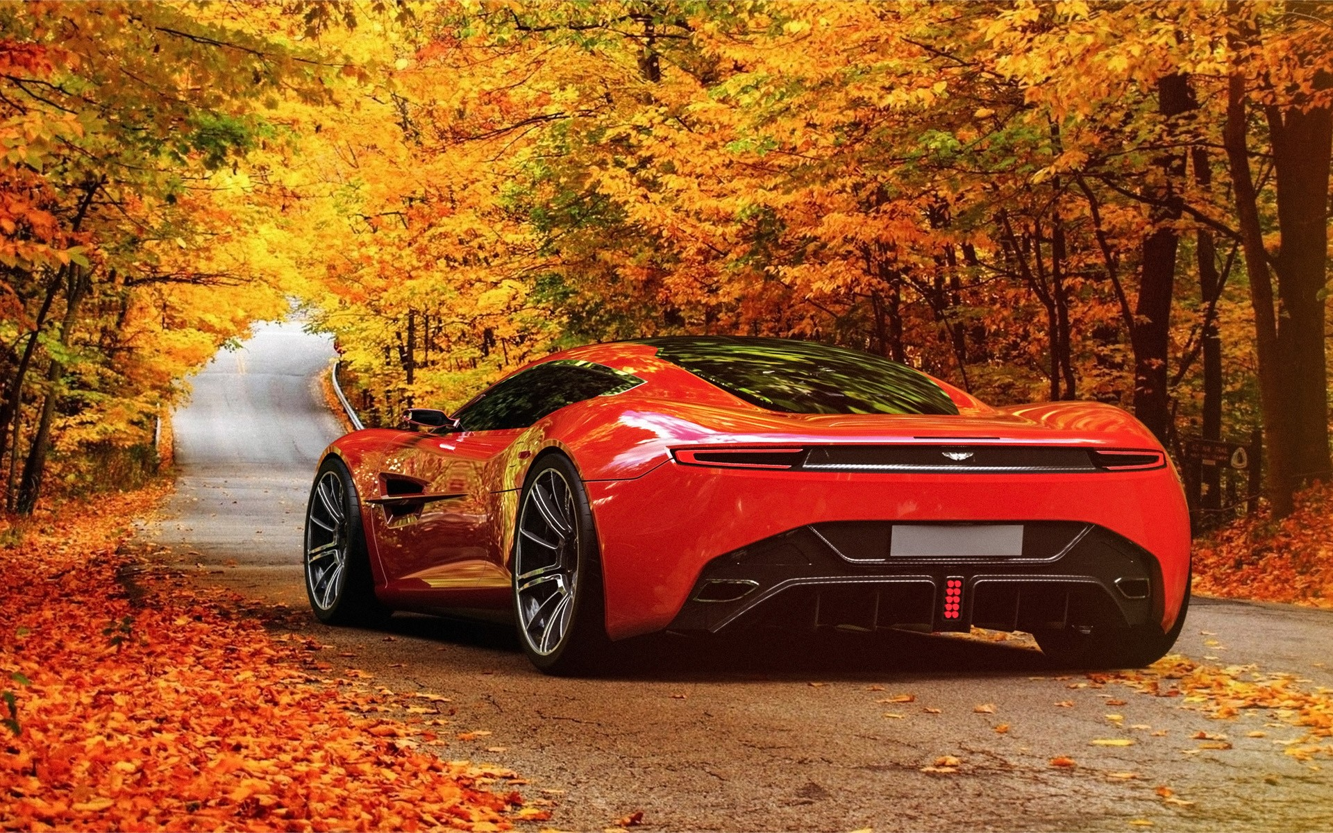 aston martin in autumn scenery wallpapers | aston martin in autumn