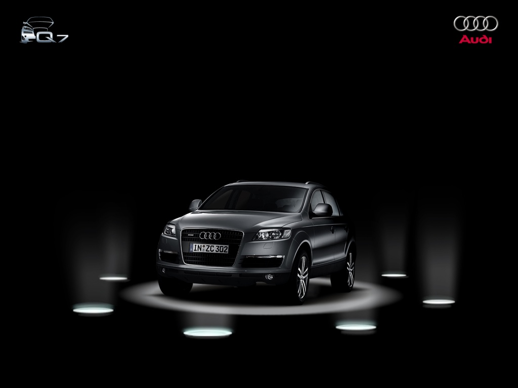 1024x768 Audi Q7 on stage desktop wallpapers and stock photos