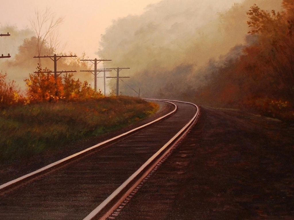 1024x768 Autumn & Rail Road