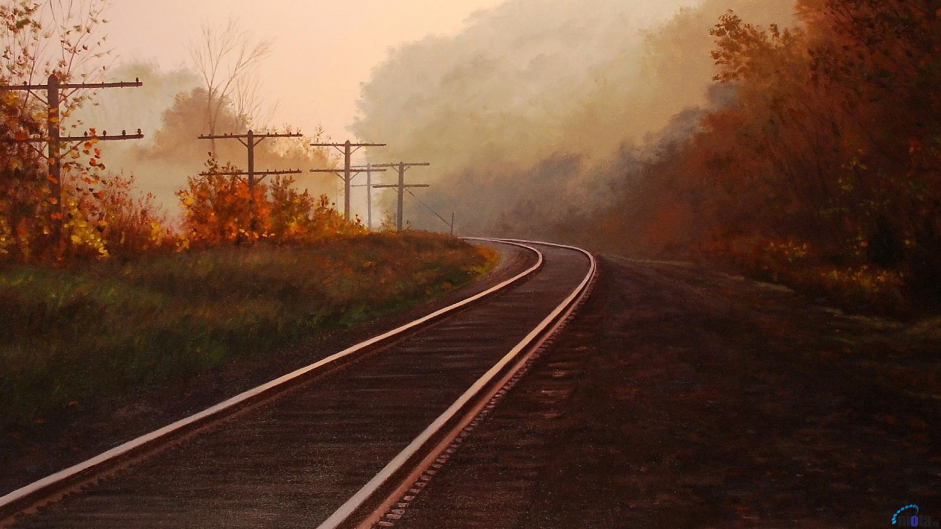 1920x1080 Autumn & Rail Road
