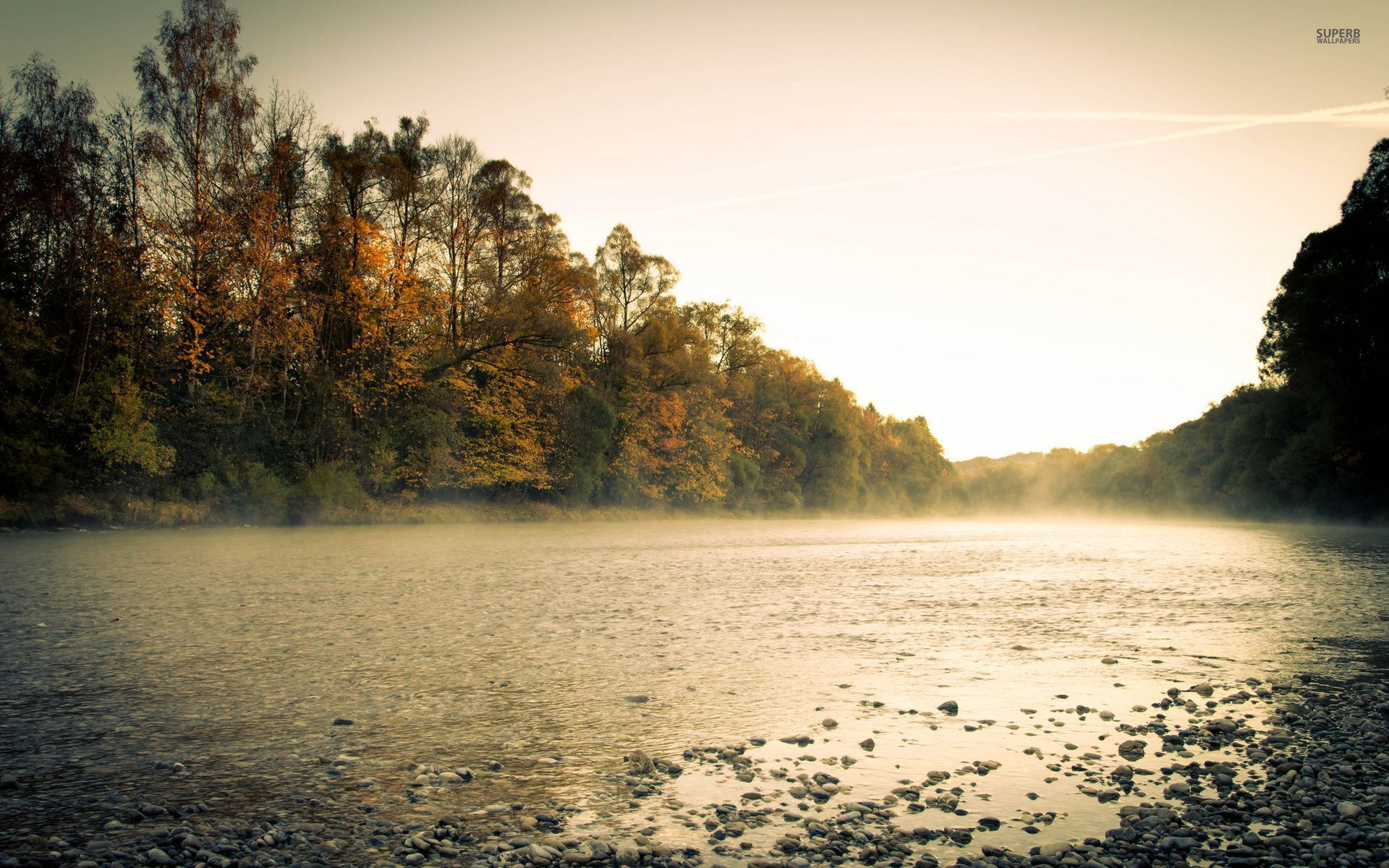 Misty Green Forest Nature River Beautiful 1ziw: Autumn Forest & Misty River Wallpapers
