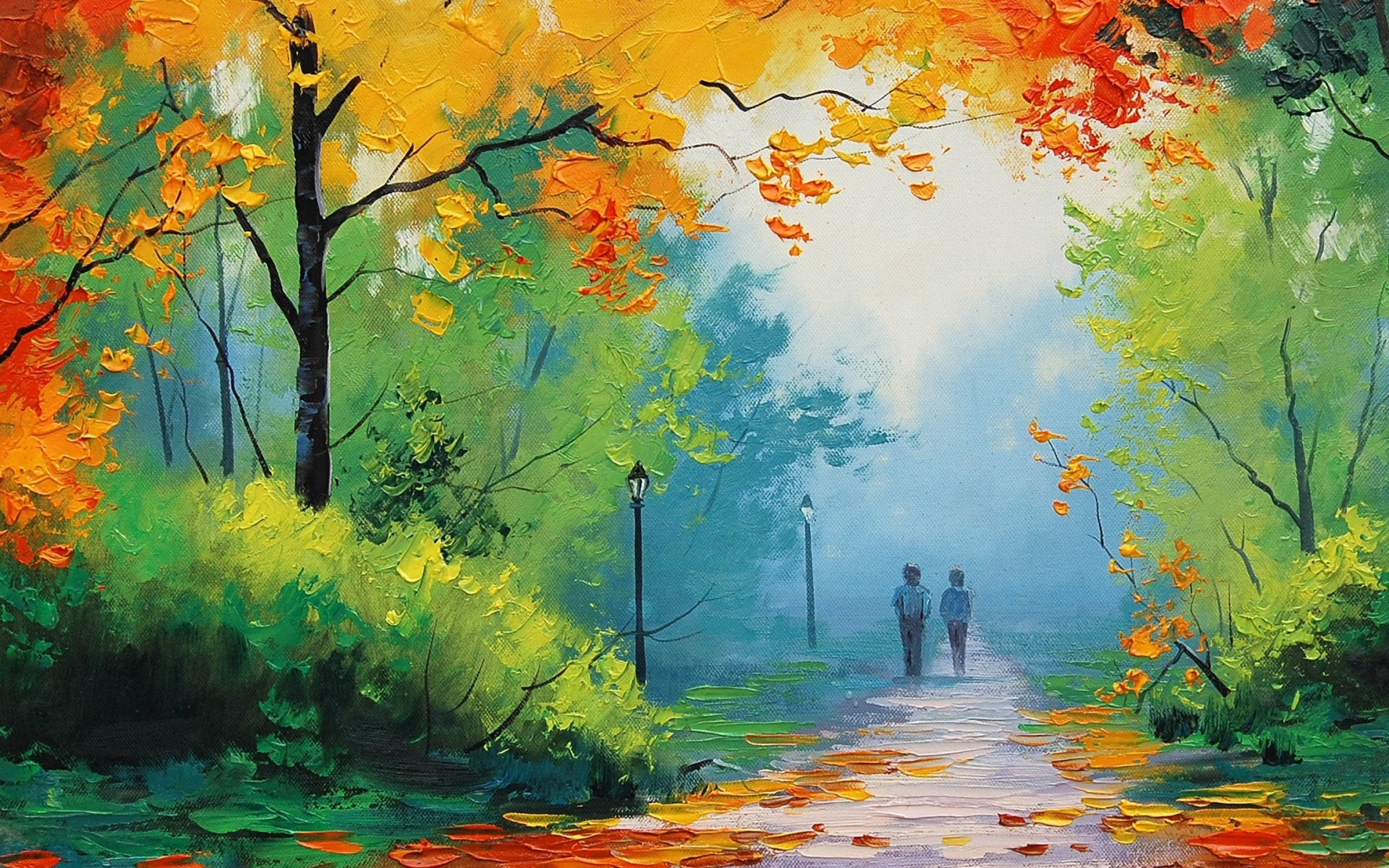 Love couple Painting Wallpaper : 1920x1200 Autumn Painting couple desktop Pc and Mac wallpaper