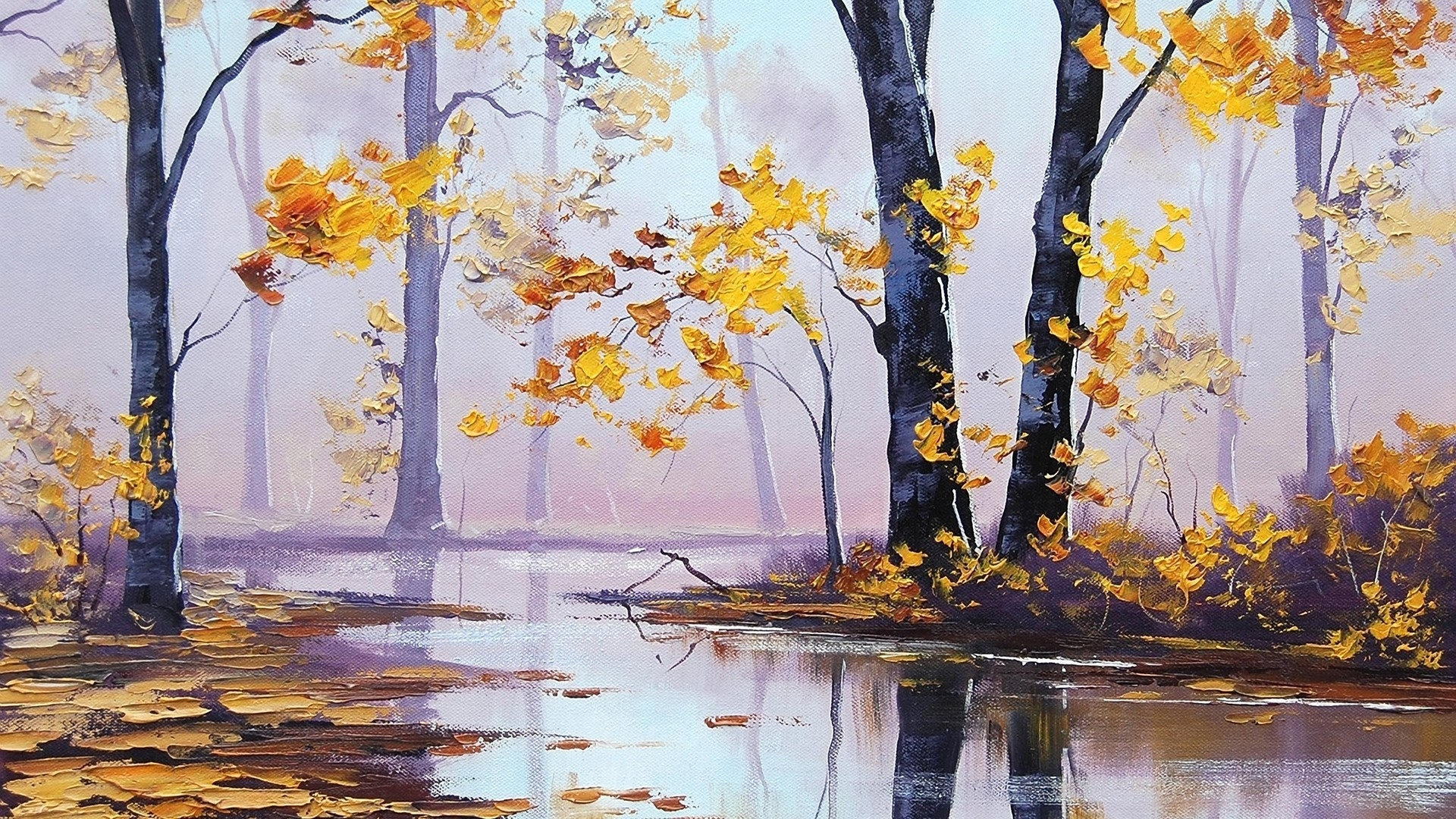 1920x1080 Autumn Scenery Oil Painting desktop PC and Mac wallpaper