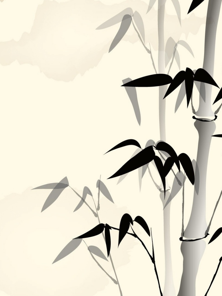 bamboo wallpaper black and white
