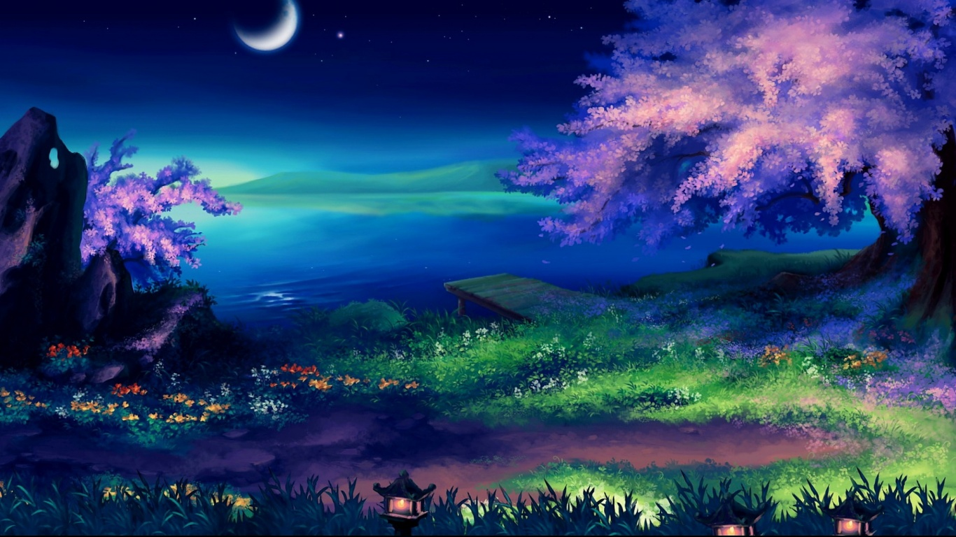 1366x768 beautiful fantasy night desktop pc and mac wallpaper