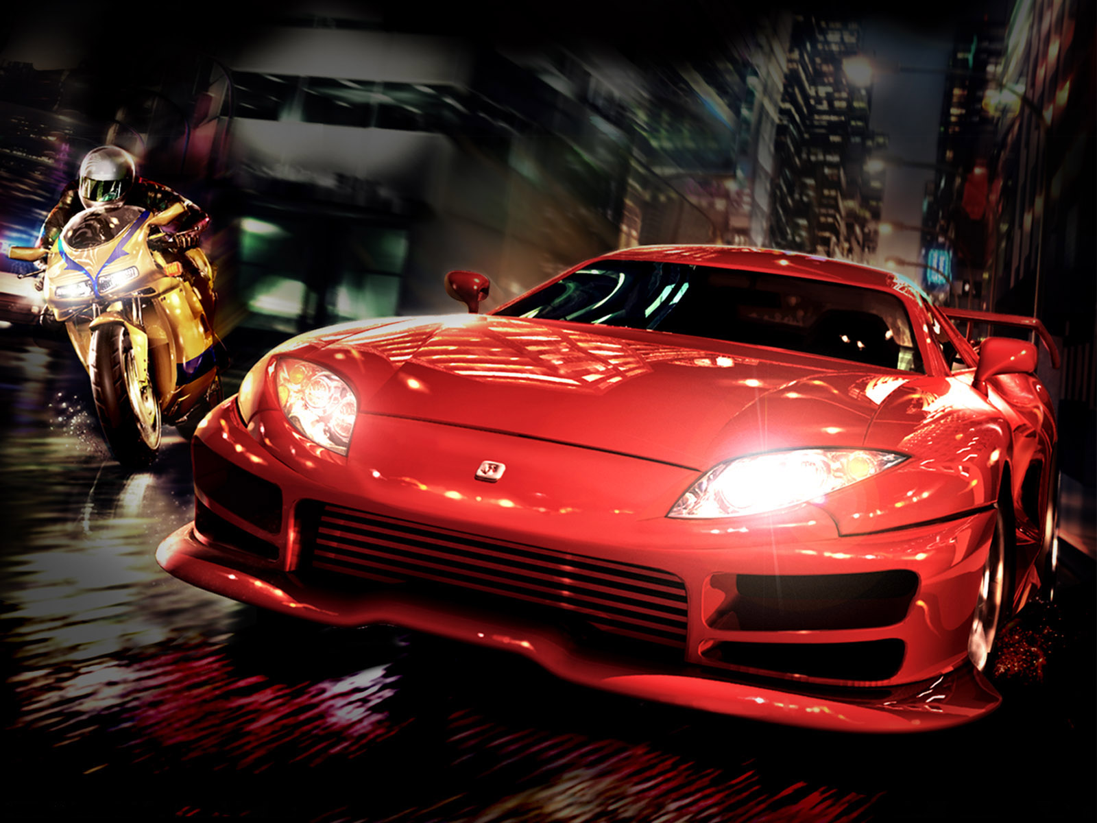 X Bike Vs Red Car Desktop Pc And Mac Wallpaper