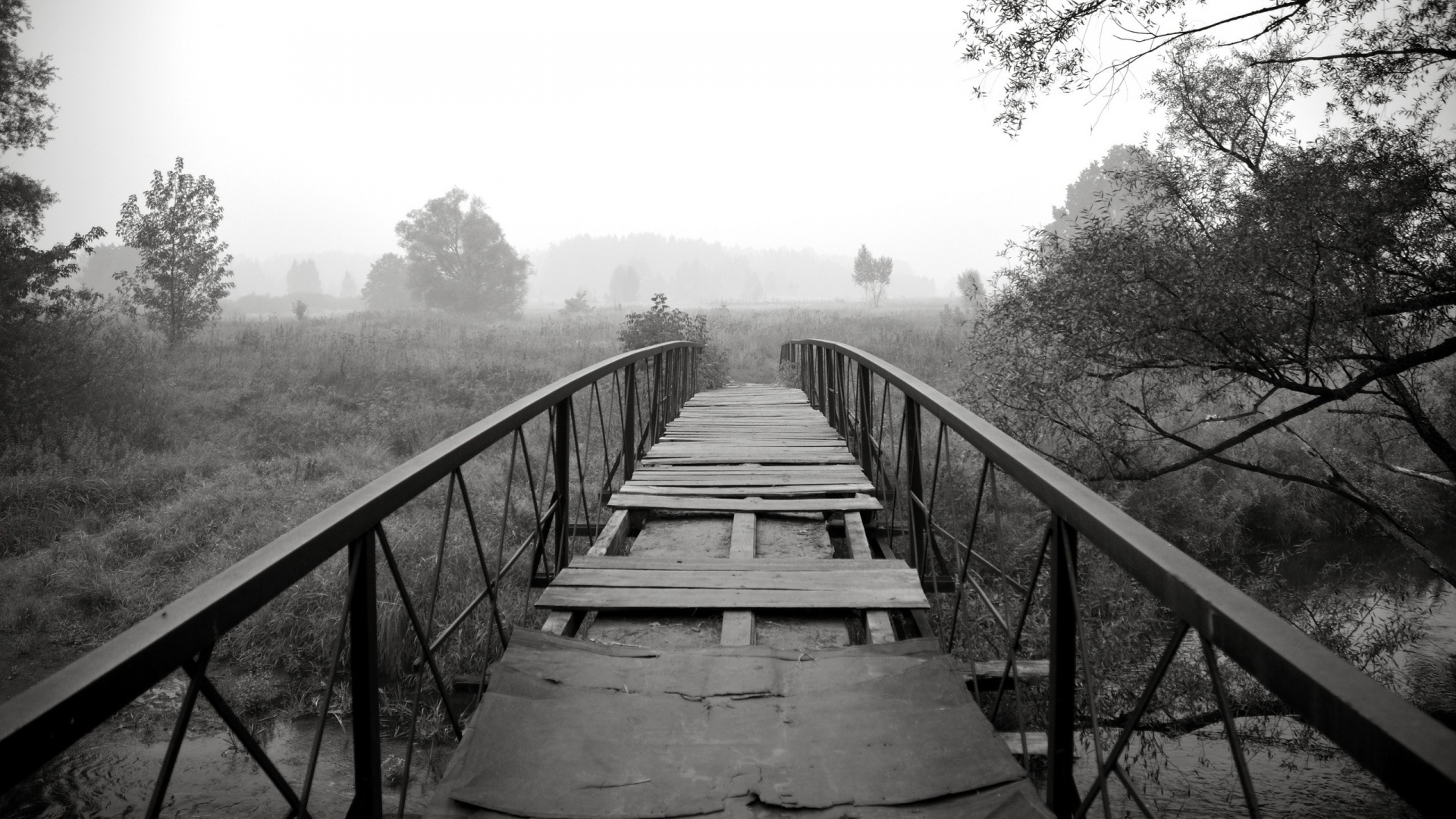 1920x1080 Black White Bridge Scenery Desktop Pc And Mac Wallpaper