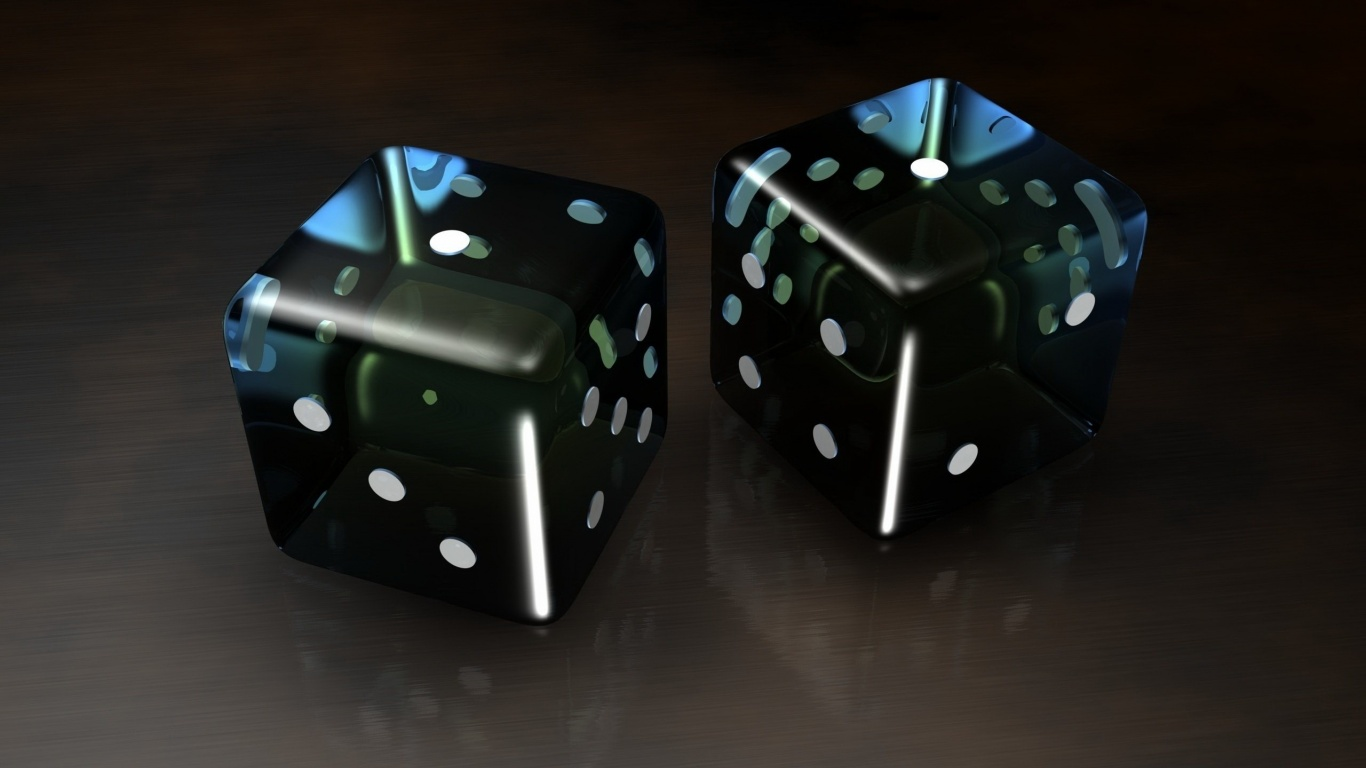 1366x768 black 3d dice desktop pc and mac wallpaper