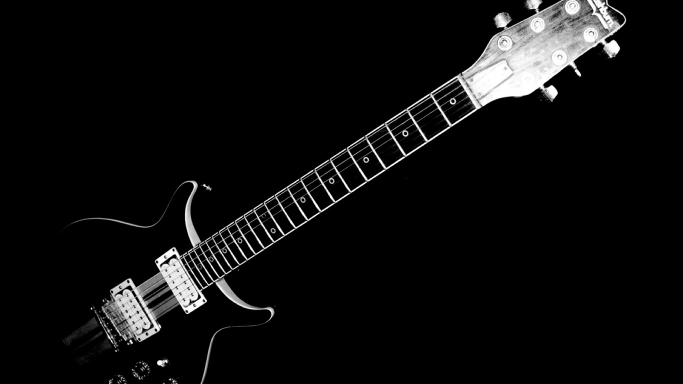 1366x768 black and white electric guitar desktop pc and