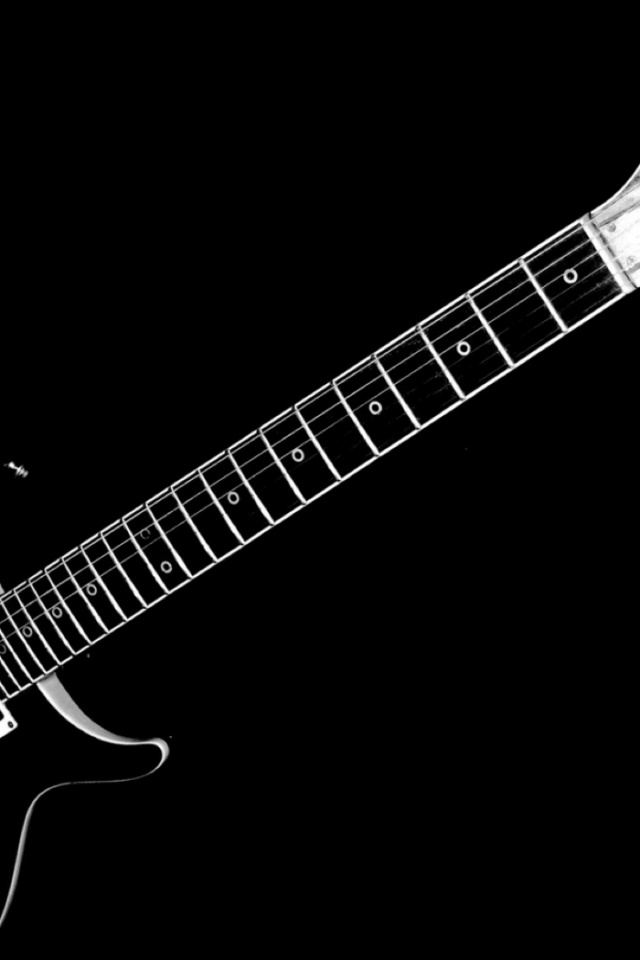 640x960 Black And White Electric Guitar Iphone 4 Wallpaper