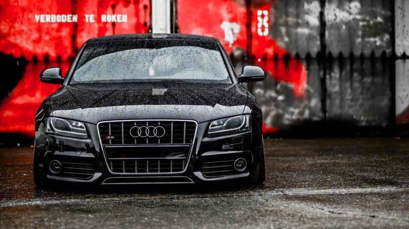 1366x768 Black Audi S5 In The Rain Desktop Pc And Mac