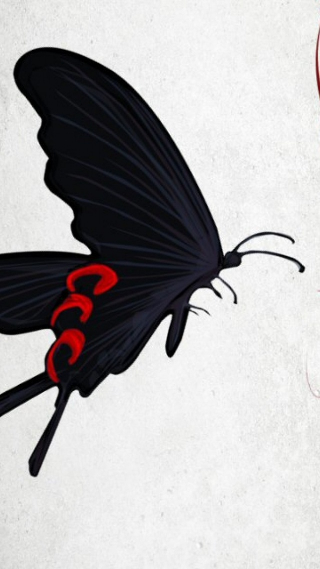 640x1136 Black Butterfly Red Flower Iphone 5 Wallpaper