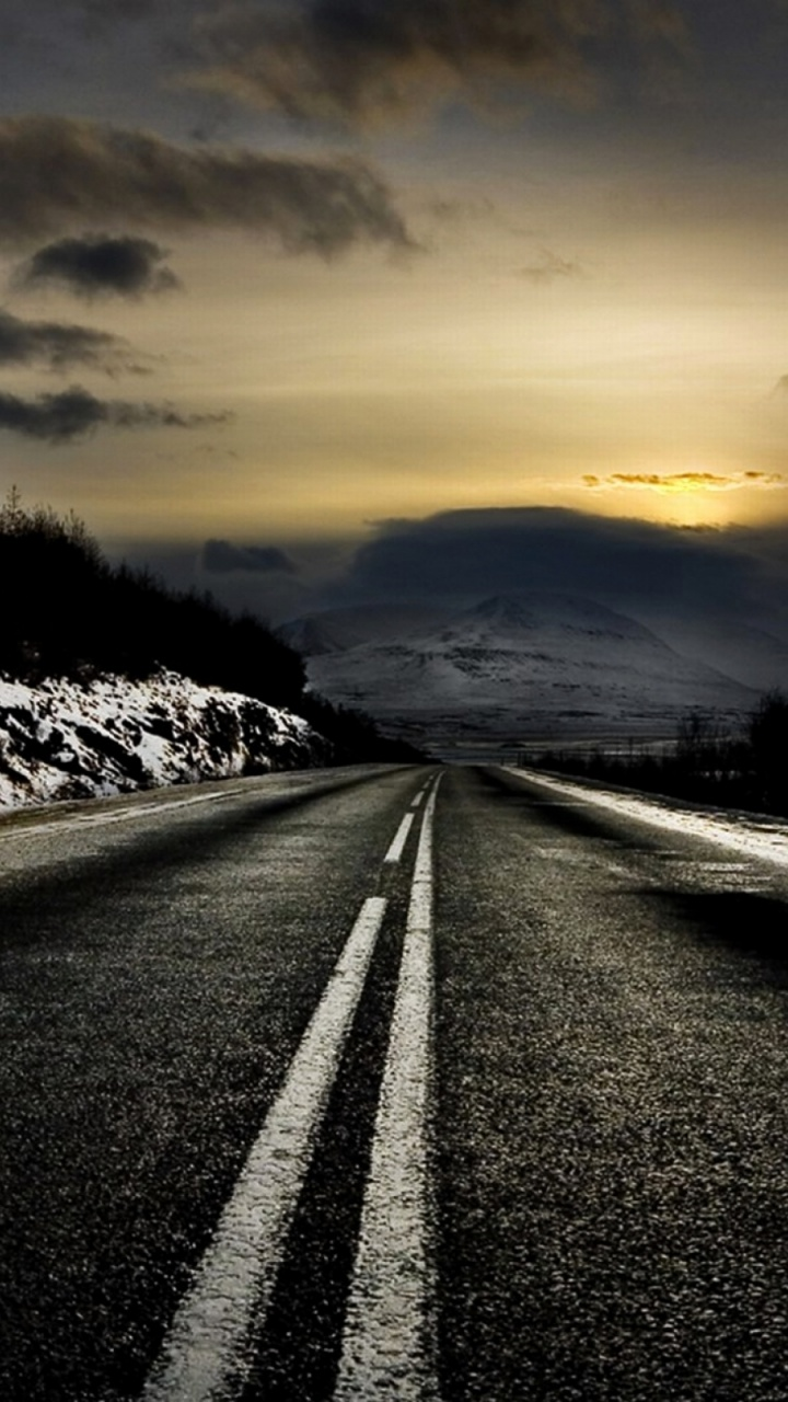 720x1280 black road & winter scenic galaxy s3 wallpaper
