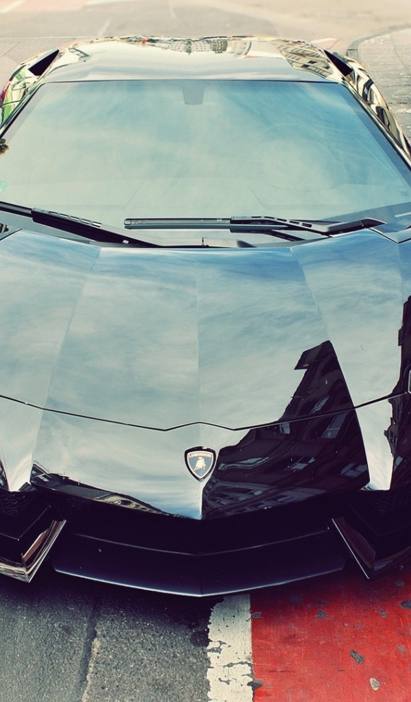 600x1024 Black Shiny Lamborghini Aventador Galaxy Tab 2 Wallpaper