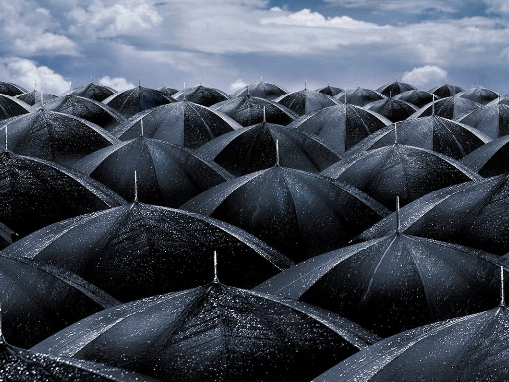 1024x768 Black umbrellas