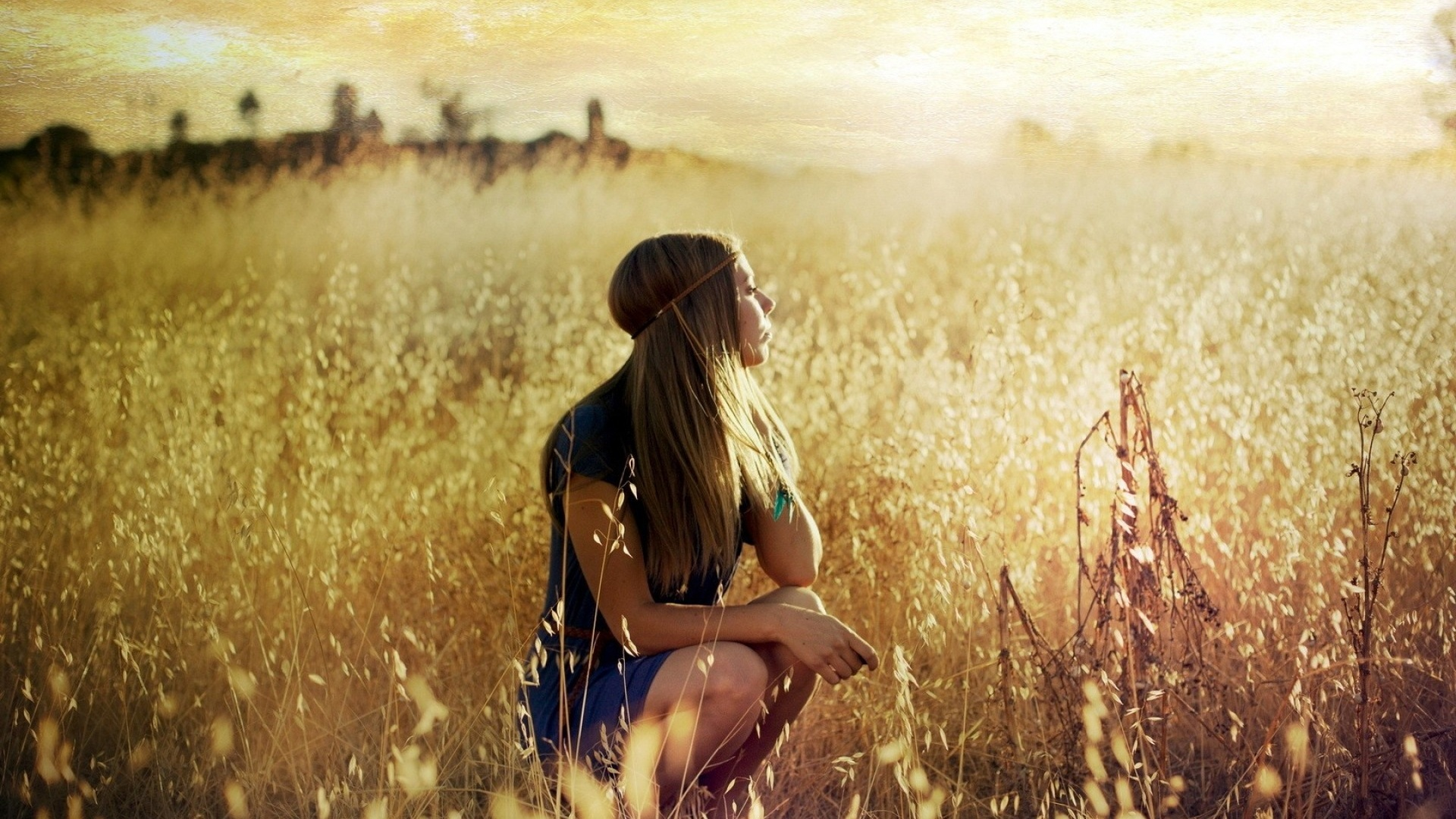 1920x1080 blonde girl in summer field desktop pc and mac wallpaper