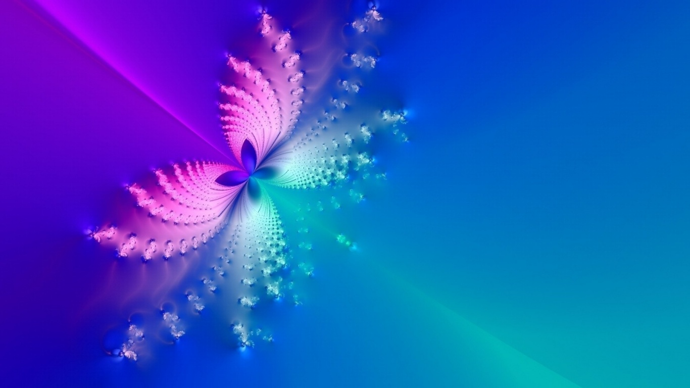1366x768 blue & pink butterfly abstract desktop pc and mac wallpaper