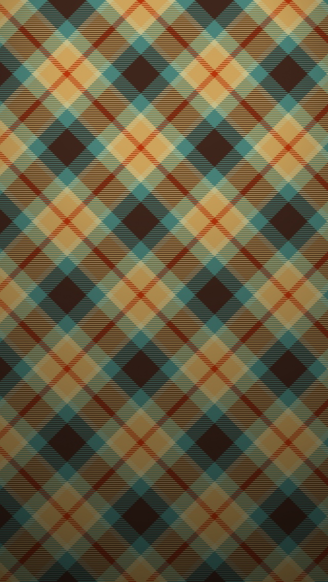 640x1136 Blue And Orange Plaid Pattern Iphone 5 Wallpaper