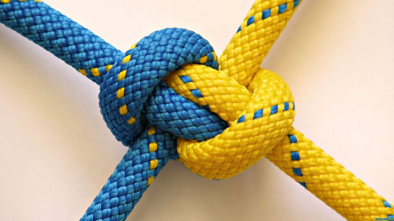 1366x768 Blue and Yellow Knot desktop PC and Mac wallpaper